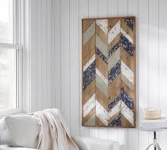 herringbone planked wood art wall