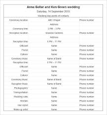 Wedding Schedule Template Simple Wedding Day Schedule Free