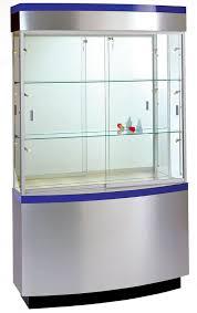 48 w x 80 h curved wall display case brushed silver laminate w blue laminate stripe