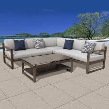 outdoor sectional home depot. Melia 4-Piece Aluminum Outdoor Sectional Set With Grey Cushions Home Depot O