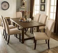 Brentford Collection Rustic Oak Finish Solid Wood Dining Set