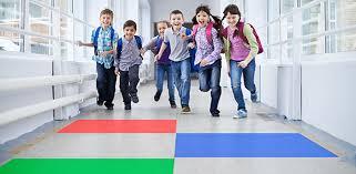 hallway at school. these school children are being encouraged to u0027runu0027 in the hallway at s