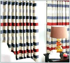 red blue curtains and white striped blackout verti