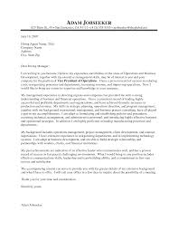 Cover Letter Sample For Management Adriangatton Com