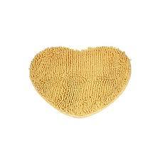 bedroom door mat heart shaped carpet fluffy chenille rug cushion yellow