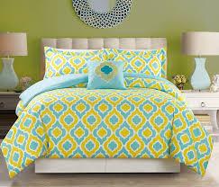 8 piece yellow blue print bed in a bag w 600tc cotton sheet set com