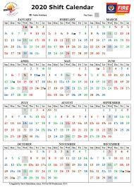 Firefighters Shift Calendar 2020 2020 Calendar New Zealand Firefighters Welfare Society