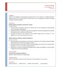Resume App Developer Therpgmovie