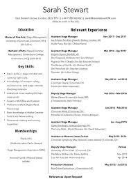 Artist Manager Resume Job Description Stage Manager Cv Magdalene Project Org