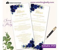 Menu Card Template Navy Blue Flowers Menu Card Printable Template Gold Menus 39w