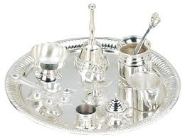 brass silver plated puja thali set of 10 by jbj 57 99 home