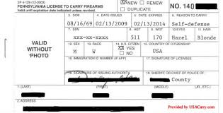 Pennsylvania Concealed Permit Information Carry