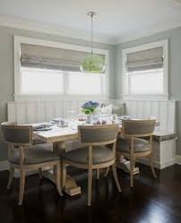 gray breakfast nook gray breakfast nook banquette chairs walls roman shades