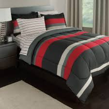 black gray red stripes boys teen full comforter set 7 piece bed in a bag com