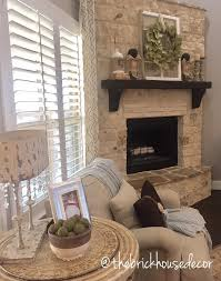 Stone fireplace, mantle, living room decor, farmhouse style, modern  farmhouse, magnolia
