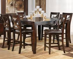 pub style dining room sets. Casual Dining Room Design With 7 Pieces Soho Rectangular Shaped Pub Style Kitchen Tables, Bold Cross Back Designed Chairs, And Brown Leather Look Sets M