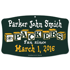 green bay packers personalized baby wood sign