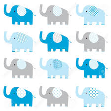 Elephant Pattern Adorable Cute Baby Boy Elephant Pattern Royalty Free Cliparts Vectors And