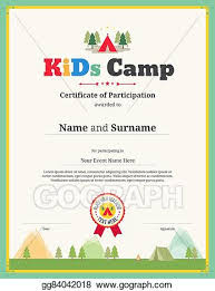 Certificate Of Participation Templates Vector Art Kids Certificate Template In Vector For Camping