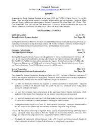 Resume Oracle Pl Sql Developer Resume Sample Best Inspiration For