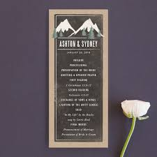 rustic mountain rustic destination unique wedding programs in charcoal by karidy walker
