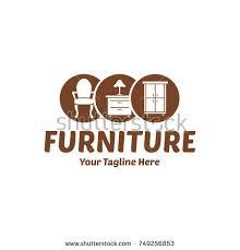 vintage furniture logo. Vintage Wood Home Furniture Logo Chair Vector Design Template Y