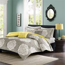 twin twin xl grey white damask comforter set with