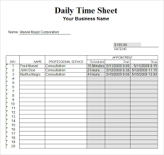 Excel Timesheet Download Free 10 Sample Daily Timesheet Templates In Google Docs