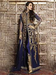 Front Open Salwar Designs Navy Blue Color Front Open Heavy Embroidery Work Designer
