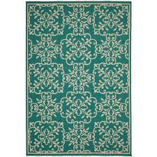 garden treasures blakeslee teal rectangular machine made coastal area rug common 5 x