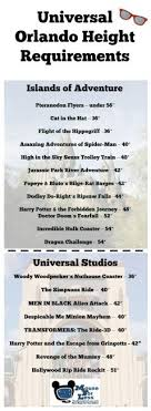Universal Studios Height Chart Height Requirements At The Universal Orlando Resort In 2019