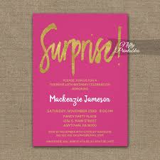 surprise birthday party invite surprise birthday party invitation hot pink gold script printed