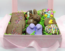 easter gifts for her chocolate treats in pink gift box with bow