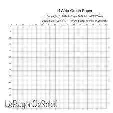 Aida 14 Cross Stitch Graph Paper Grid Template Needlework
