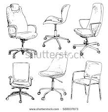 office chair drawing. Wonderful Chair Set Office Chairs Isolated On White Background Sketch Different ChairsVector  Illustration Inside Office Chair Drawing C
