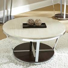 furniture round white stone top coffee table with chrome legs and round brown wooden base