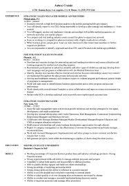 Strategic Sales Manager Resume Samples Velvet Jobs