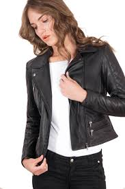 italian leather jacket for women biker model with formal collar black 3