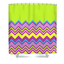 yellow and purple shower curtain lime green shower curtain featuring the digital art chevron bright green