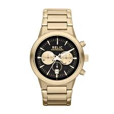 relic men s wrigley gold tone chronograph watch w black gold relic men s wrigley gold tone chronograph watch w black gold dials jewelry watches men s watches