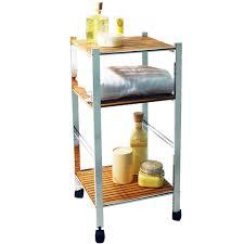 BAMBOO - Three Tier Bathroom Storage Caddy with Wheels - Silver ...