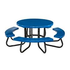 48 round fiberglass picnic table with powder coated portable steel frame