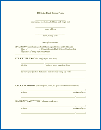 Fill In The Blank Resume Templates Resume Format Blank Blank Resume