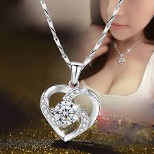 necklace women s heart pendant simple wild korean clavicle chain japanese silver accessories silver silver