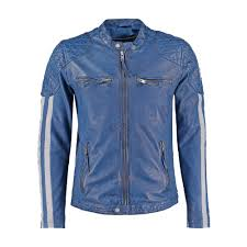 mens cafe racer motorcycle leather jacket blue with white stripes