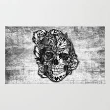 sugar and spice grunge candy skull area throw rug by kristy p