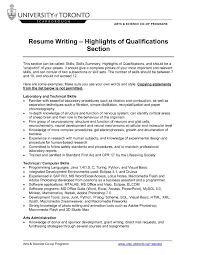 Resume Sample Qualifications Summary Of Qualifications Resume Samples wwwnyustrausorg 40