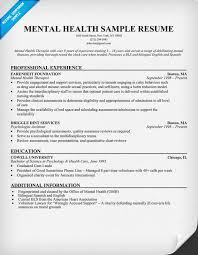 Public Health Resume Objective Mental Health Resume Example httpresumecompanion health 50