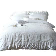 duvet covers set queen washed silk cotton bedding set white lace embroidered hotel duvet cover set duvet covers set
