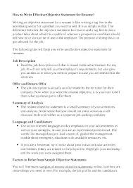 Resume Job Objective Statement Freeletter Findby Co